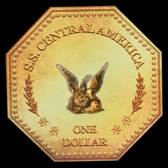 SS Central America Gold Nugget Medal reverse