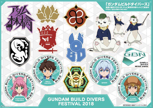 Badge and postcard Gundam Build Divers Festival 2018