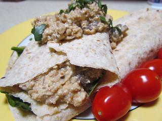 Mushroom-Cashew Breakfast Burritos