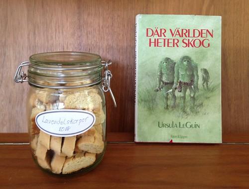 Lavender crisprolls and Le Guin book