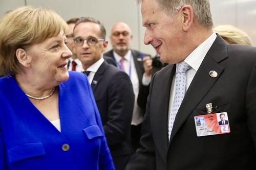 Tasavallan presidentti Sauli Niinistö Naton huippukokouksessa Brysselissä 11. heinäkuuta 2018.