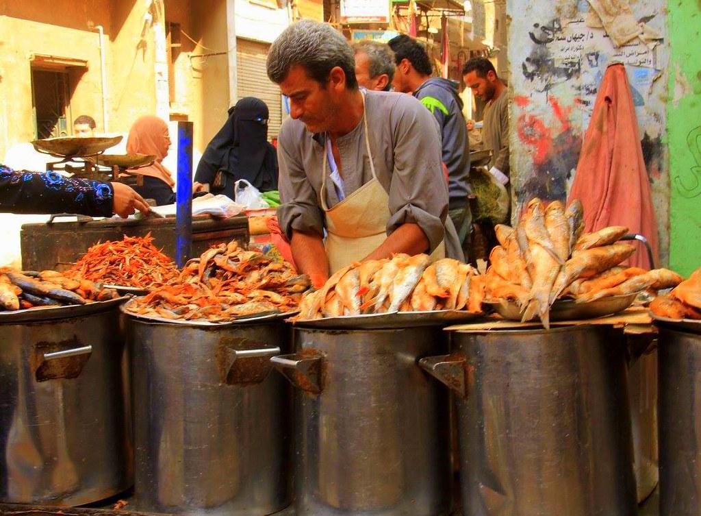 Feseekh seller at Cairo market