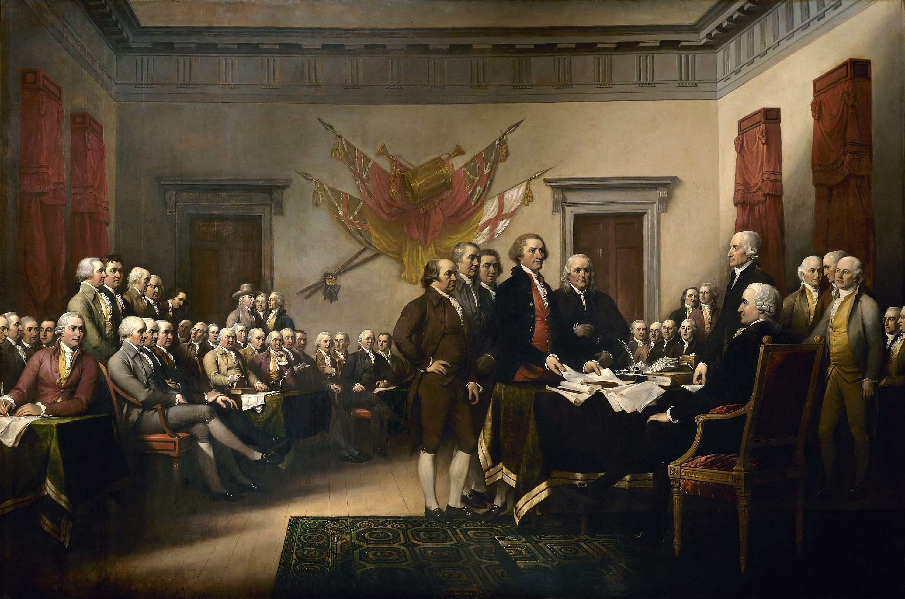 John Trumbull's famous painting is often identified as a depiction of the signing of the Declaration, but it actually shows the drafting committee presenting its work to the Congress. Oil on canvas, 1819, 12 feet (366 cm) by 18 feet (549 cm). On display in the Rotunda of the United States Capitol, Washington, D.C.