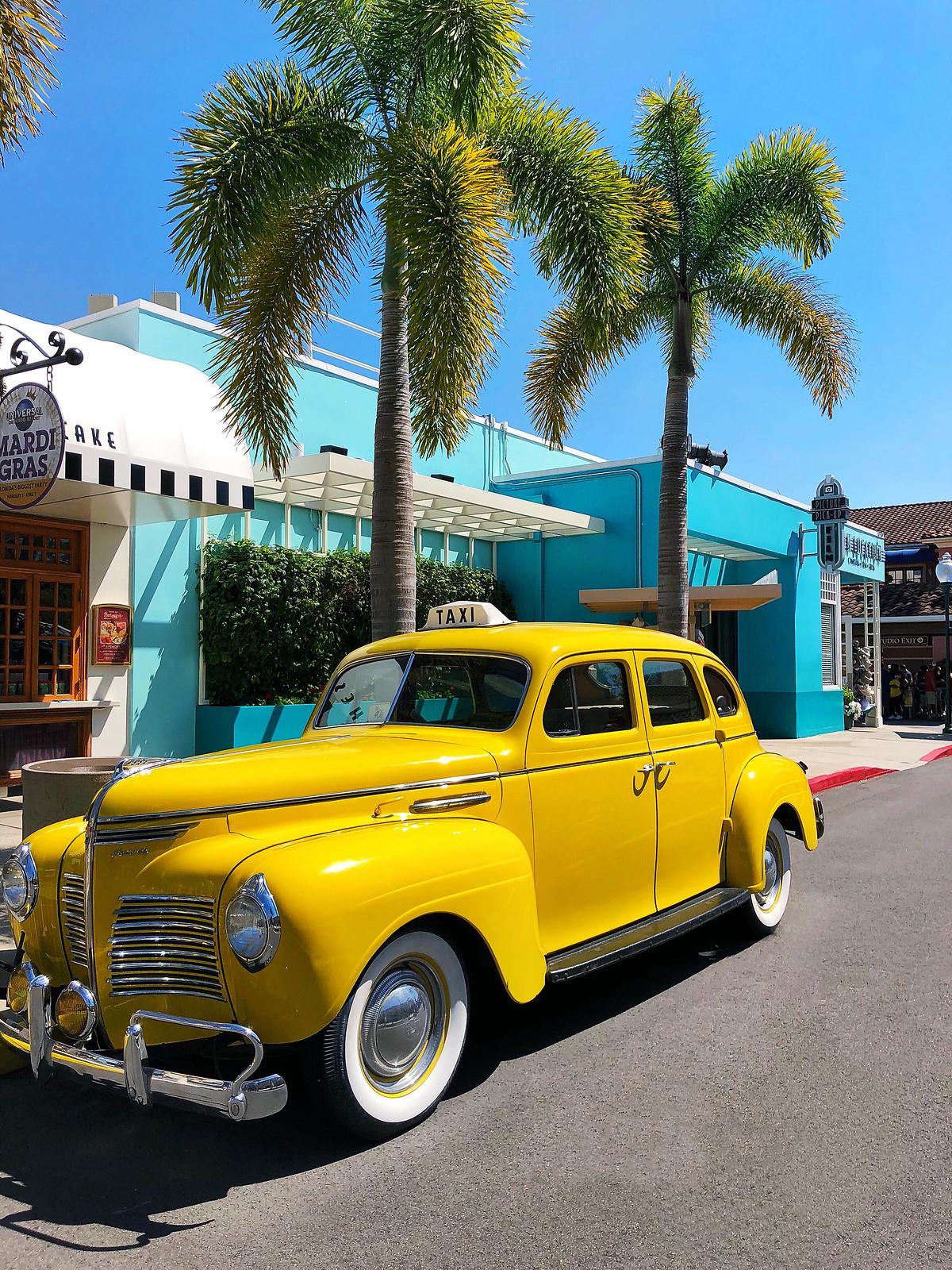 Vintage Old Yellow Cab Universal Studios Florida