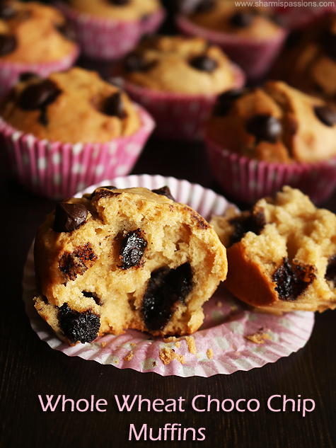 whole wheat choco chip muffins recipe
