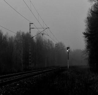 Railroad tracks in mist