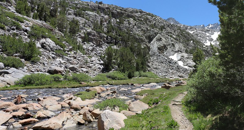 We're nearly there as we see the rapidly-flowing outlet stream at Sam Mack Meadow