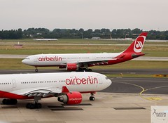 Air Berlin A330-223s D-ABXC and D-ALPF taxiing at DUS/EDDL