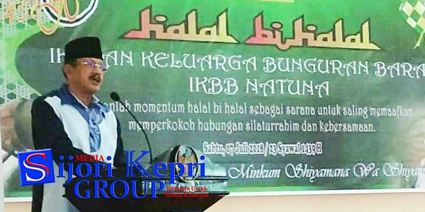 Bupati Natuna, Hamid Rizal, menyampaikan kata sambutan pada acara Halal Bihalal Pengurus dan Anggota IKBB Kabupaten Natuna