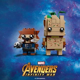 是在可愛幾點的啦?! LEGO 41626 BrickHeadz 系列《復仇者聯盟3:無限之戰》火箭浣熊&格魯特 Rocket Racoon and Teen Groot 公開!!