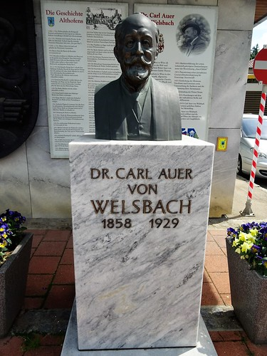 Treibach/Althofen, Carinthia, state of Austria (the art of public places of Althofen), Hauptplatz (in memoriam Dr. Carl Auer von Welsbach)