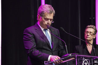 Finnish president, the patron of the Millennium Technology Prize, Sauli Niinistö and Marja Makarow, Chair of Technology Academy Finland, a foundation that awards the Millennium Technology Prize.