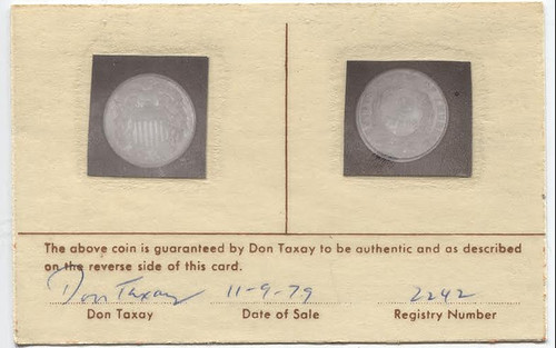 1864 Two Cent Piece Taxay Certificate front