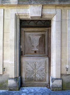 Carved wood door, Mane, Provence, France