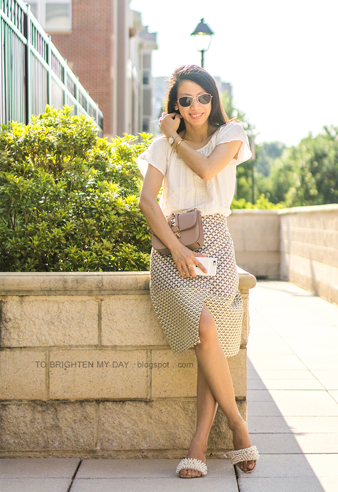 boho top with fringe, jacquard wrap skirt, embellished heels with pearls, two tone watch, gold bangle, nude glam lock bag