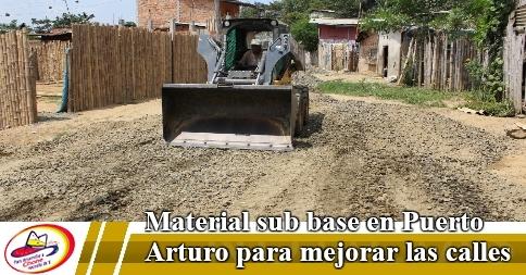 Material sub base en Puerto Arturo para mejorar las calles