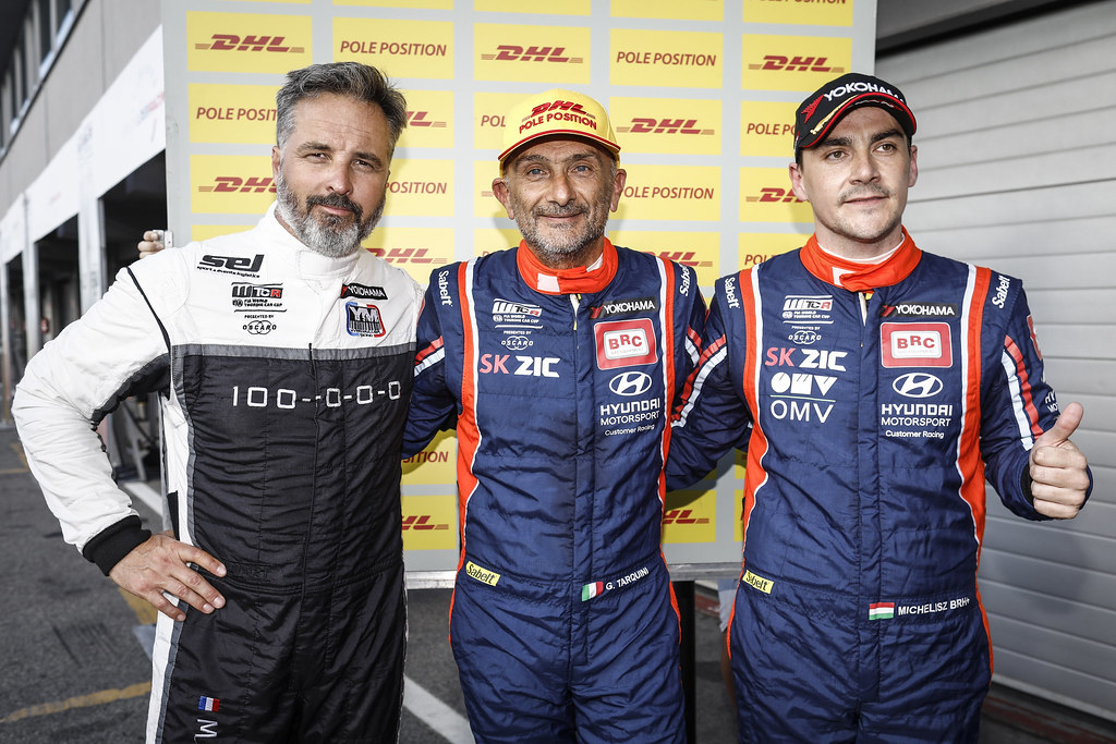 MULLER Yvan, (fra), Hyundai i30 N TCR team Yvan Muller Racing, portrait TARQUINI Gabriele, (ita), Hyundai i30 N TCR team BRC Racing, portrait MICHELISZ Norbert, (hun), Hyundai i30 N TCR team BRC Racing, portrait during the 2018 FIA WTCR World Touring Car cup race of Slovakia at Slovakia Ring, from july 13 to 15 - Photo François Flamand / DPPI.