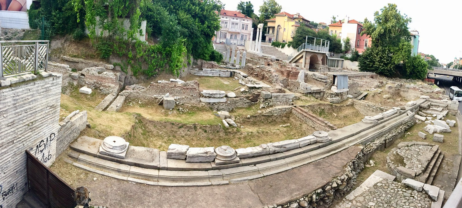 201705 - Balkans - Ancient Roman Ruins right next to street and houses - 24 of 89 - Plovdiv - Hadji Hasan Mahala - Plovdiv, May 22, 2017