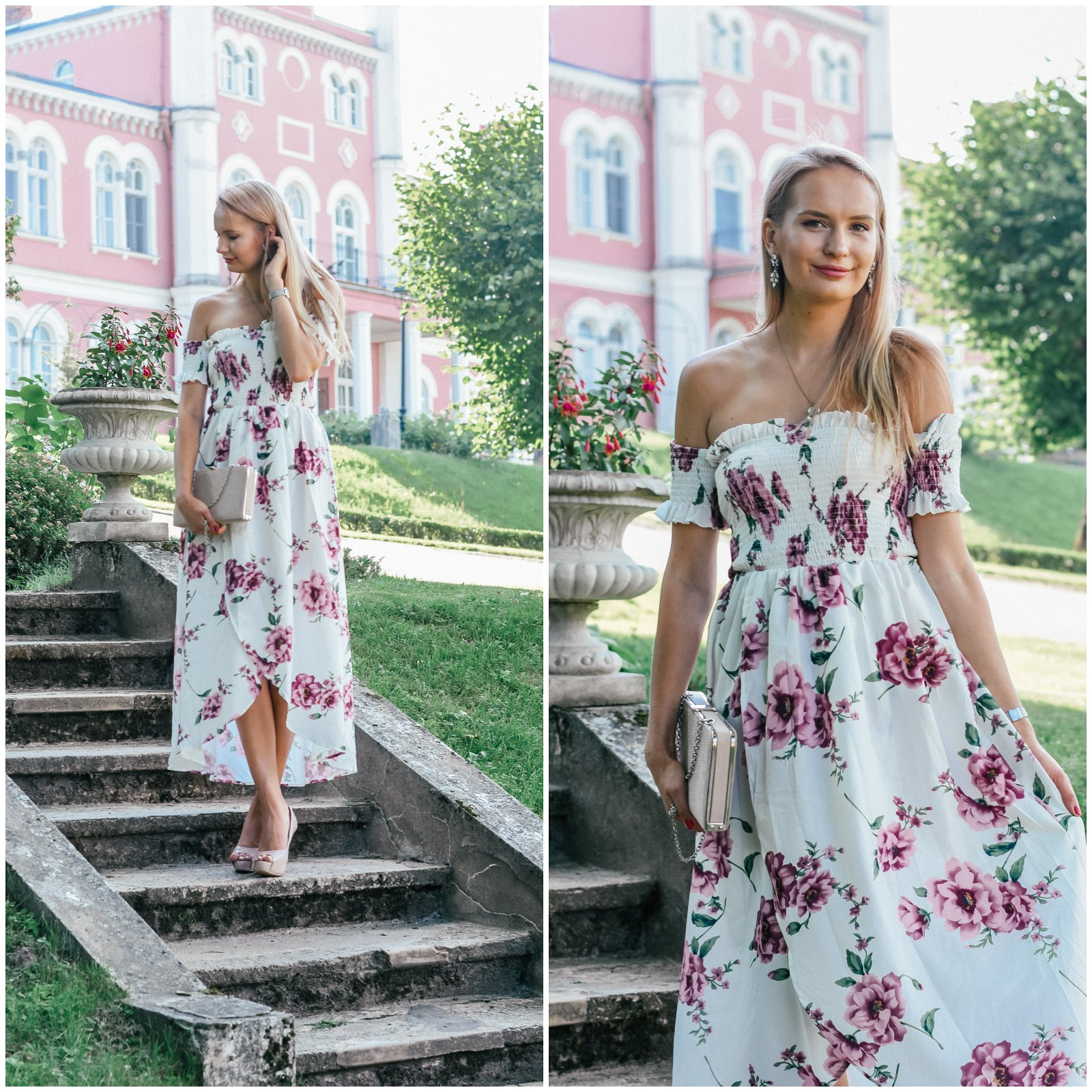Floral maxi dress off shoulders dress