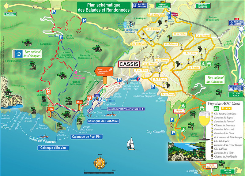 Calanques de Cassis: o mapa