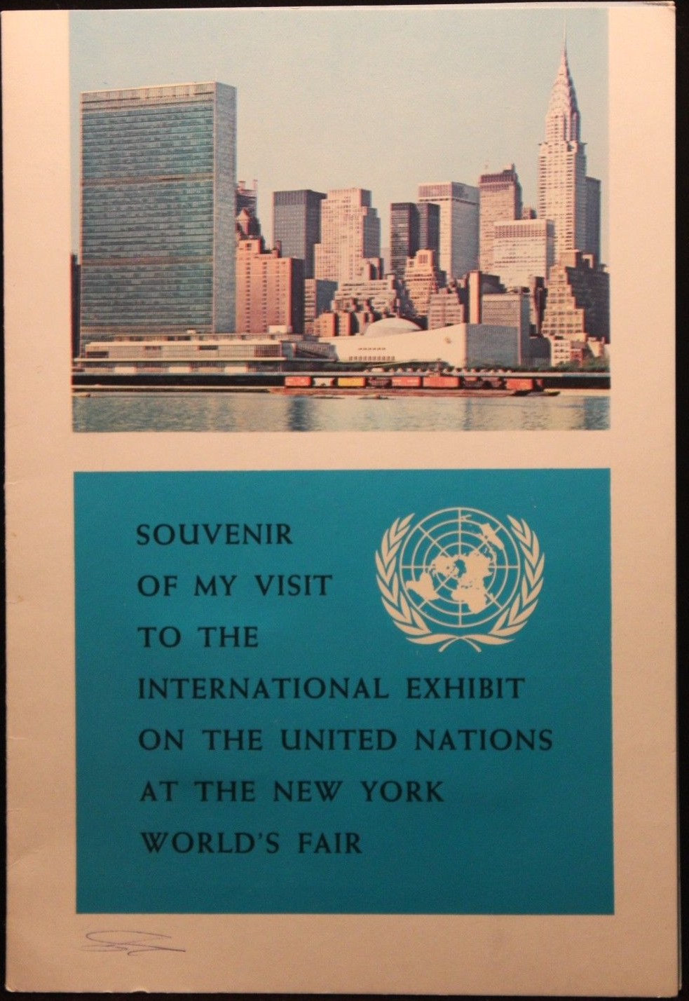United Nations Postal Administration folder containing U.N. stamps distributed at the 1964-1965 New York World's Fair.