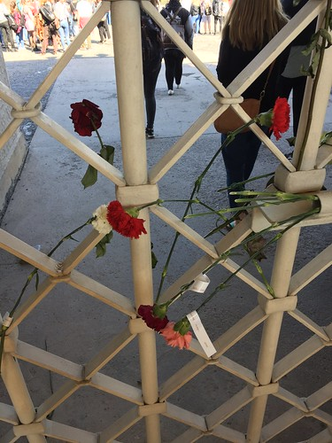 Buchenwald: Flowers attached to the gate in memory of KZ prisoners