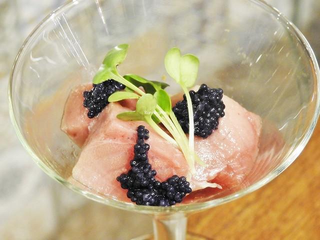 Mosaic Of Freshly Smoked Bluefin Tuna Fish With Caviar