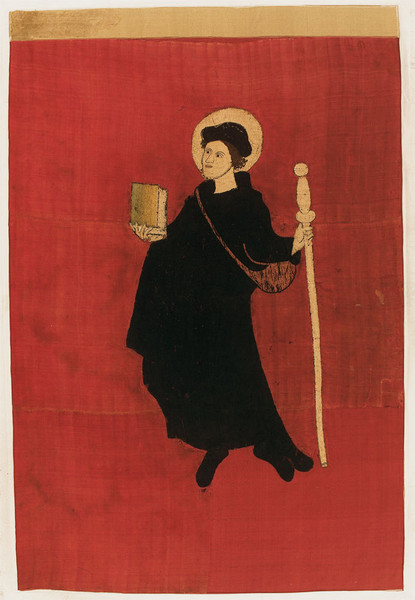 Saint Fridolin depicted on the banner of Glarus, according to tradition the banner used in the Battle of Näfels (1388). On exhibit in the Freulerpalast, Näfels, Glarus.