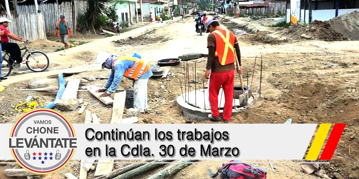 Continúan los trabajos en la Cdla. 30 de Marzo