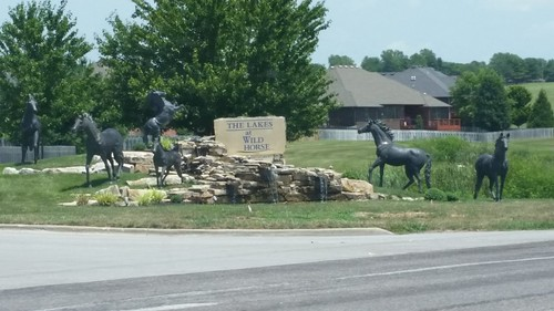 2018 springfield springfieldmo springfieldmissouri missouri ozarks greenecounty outdoor statue horse subdivision landscaping horses equestrian thelakes wildhorse sign fountain water