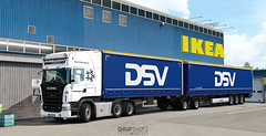 Scania R500 pulling doubles for DSV [ETS2]