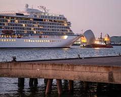 Cruise ship 'Viking Sky' leaving Greenwich via the Thames Barrier - July 2018