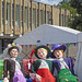 Florence, Nelly and Bertha (Cecil Green Arts) resting in the sunshine at the Bradford Festival
