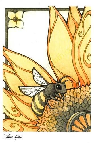 Flowers Drawings : Art Nouveau Bee