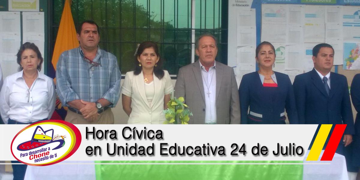 Hora Cívica en Unidad Educativa 24 de Julio