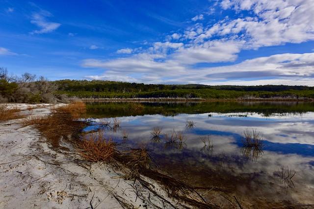 Lake and white sand