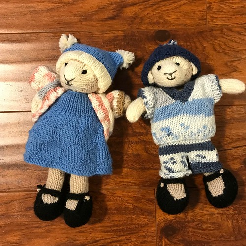 June's little Girl and Boy Lambs - their outfits are from Knit Me, Dress Me, Love Me book by Sue Stafford