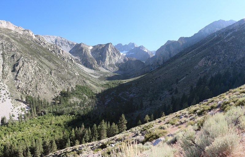 Looking up the South Fork of Big Pine Creek toward the Clyde Glacier and Middle Palisade
