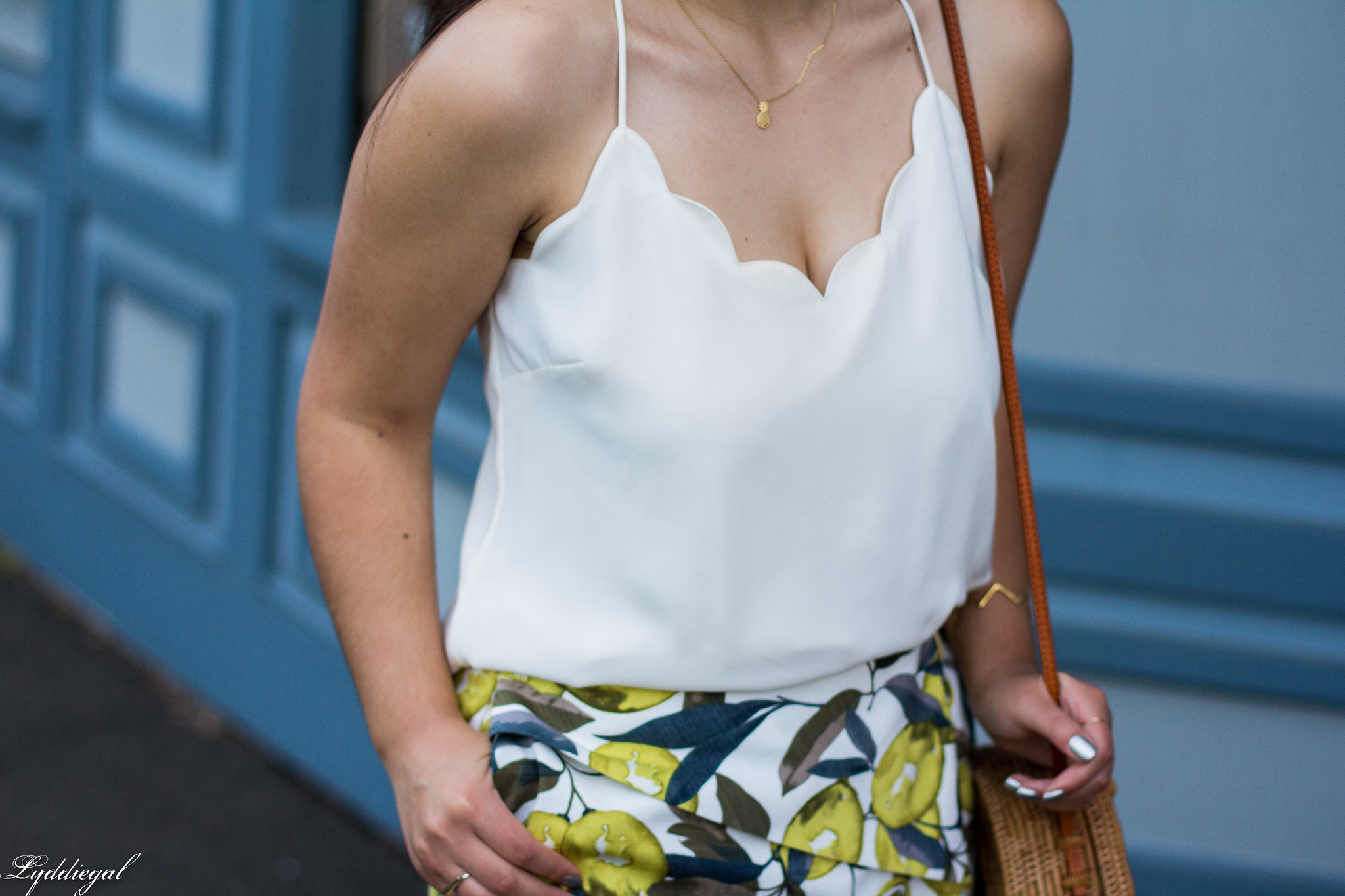 Lemon print skort, scalloped cami, round straw bag, ferragamo slides-8.jpg