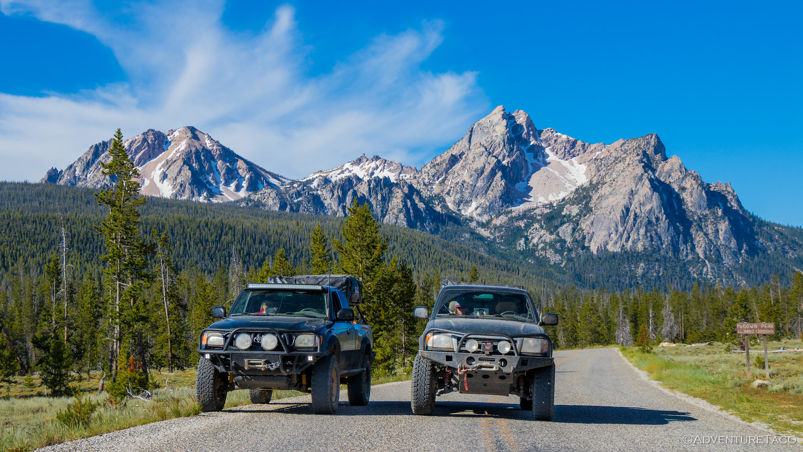 toyota tacomas near sawtooth mountains, idaho