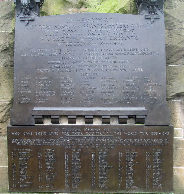 Dedication Plaques, Royal Scots Greys Memorial, Edinburgh