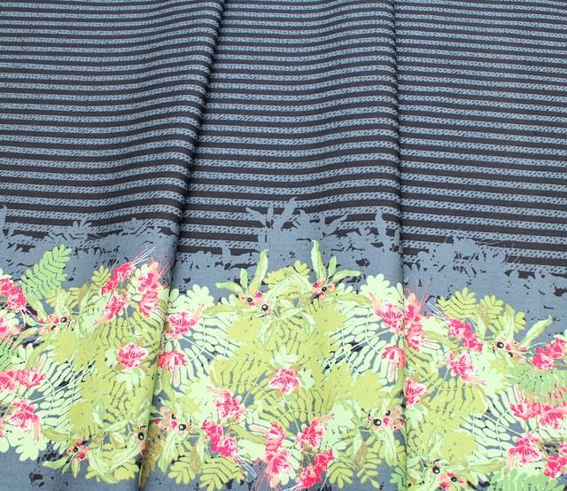 Art Gallery Fabrics Decadence Striped Fleur Paradis Panel