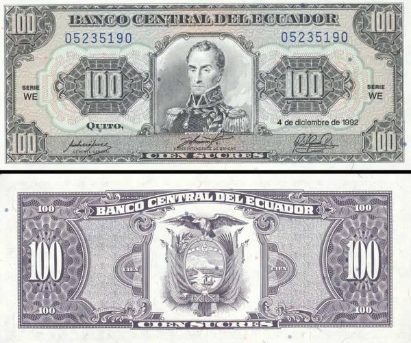 100 Sucres Ekvádor 1992, P123A