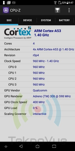 ASUS Zenfone Live L1 - CPU Z CPU