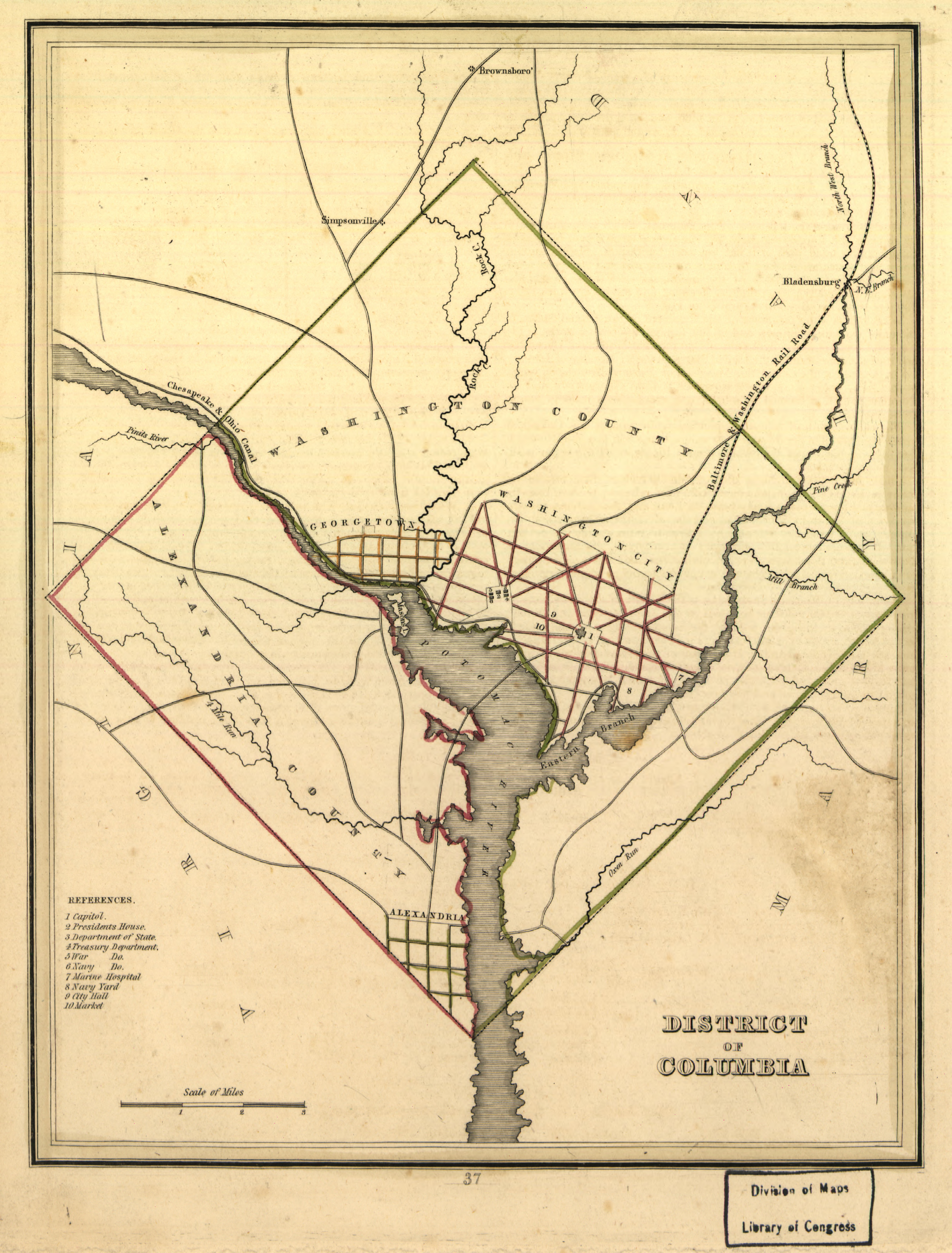 Map of the District of Columbia in 1835, prior to the retrocession, including Washington City, Georgetown, Washington County, Alexandria City, and Alexandria County. Also depicts major buildings, roads, and points of interest. Library of Congress, Geography and Maps Division.