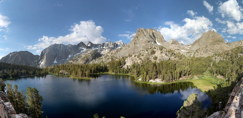 Panorama view of Fourth Lake in the North Fork Big Pine Creek Basin