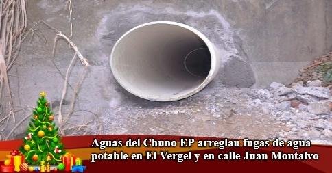 Aguas del Chuno EP arreglan fugas de agua potable en El Vergel y en calle Juan Montalvo