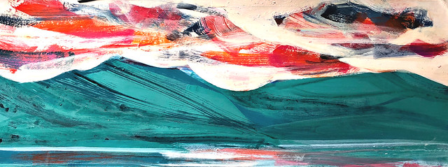 "Copper Mountain horizontal, acrylic on paper, 10"" x 24"". Trying to break the logjam in my studio."