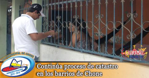 Continúa proceso de catastro en los barrios de Chone