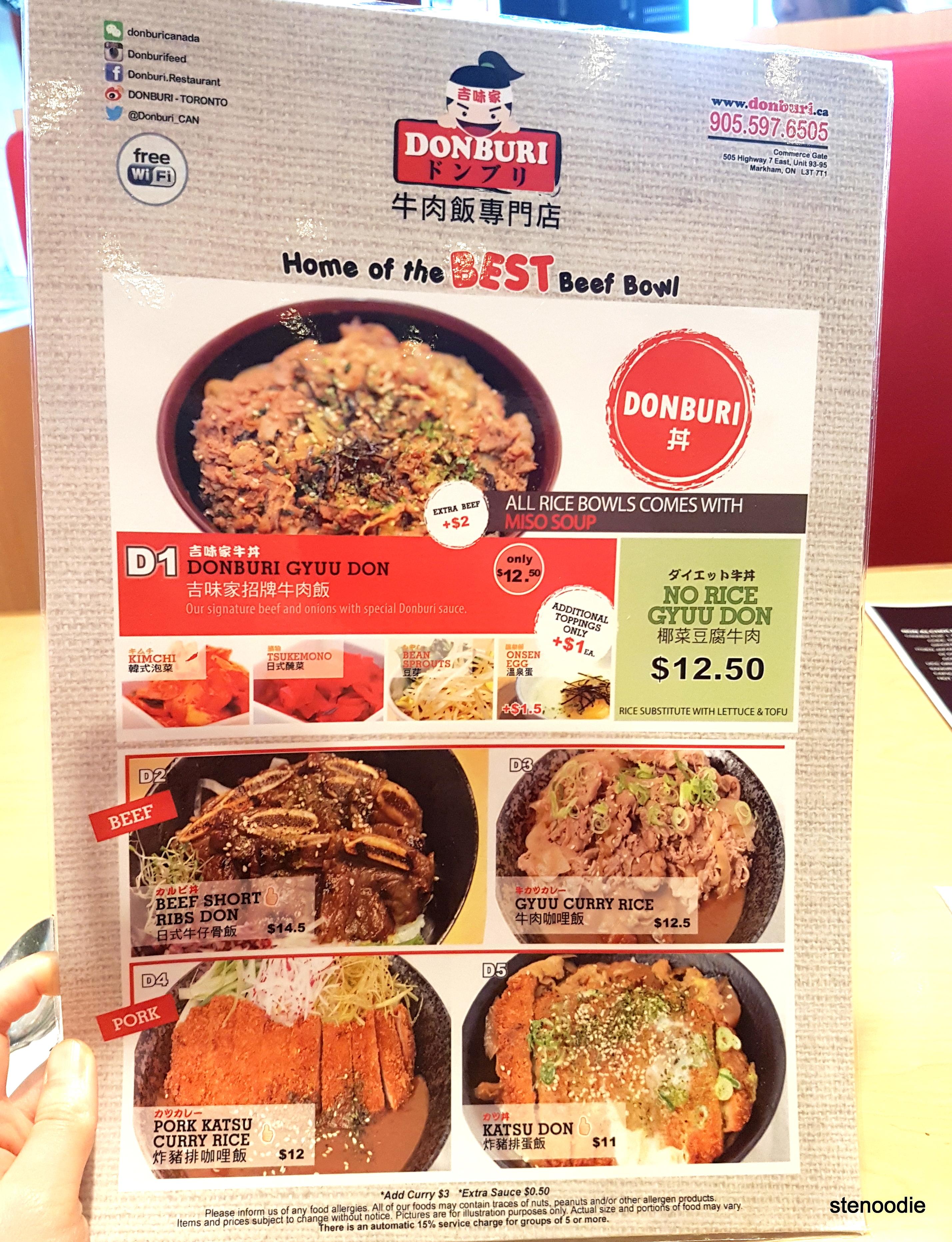 Donburi menu and prices